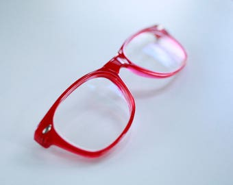 Wayfarer type Eyeglasses - strawberry red - for repair - ray bann -  Vintage Glasses Frames - origin unknown