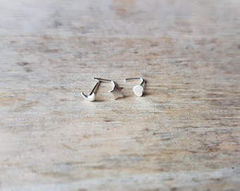 Sterling silver shaped nose stud 3mm celestial star moon crescent heart boho jewellery stocking stuffer best selling item silver