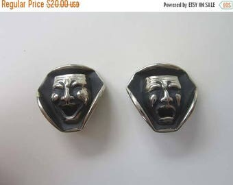 50% OFF Comedy Tragedy Theatrical Face Mask Silver tone Earrings Clip On
