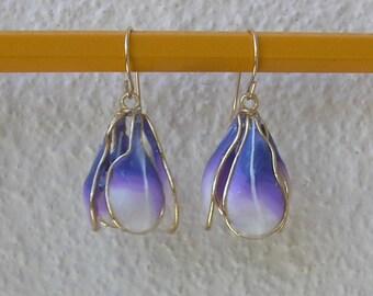 Flower earrings, Earrings flower, Purple earrings, Violet flower, Nature earring. Bell flower,