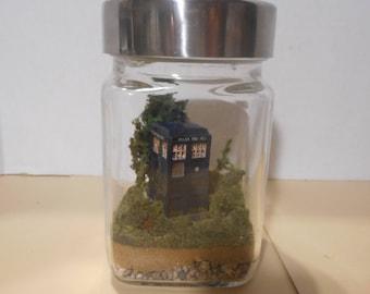 Miniature Custom Doctor Who TARDIS Themed Terrarium Diorama