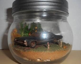 Custom SUPERNATURAL IMPALA Themed Miniature Terrarium Cemetery Diorama OOAK