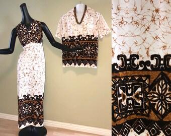 Vintage Hawaiian Wedding Set His & Hers Maxi Dress Tiki Oasis Hukilau Aloha Shirt 60s 70s White Brown Tribal Print Barkcloth Print Polyester