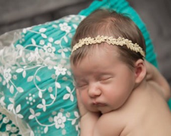 Gold Trim Headband - Christmas photo, perfect for newborn or toddler photo shoots by Lil Miss Sweet Pea Boutique