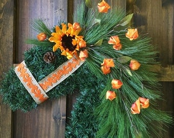 Fall Horse Wreath with Leaf Halter/Sunflower/Orange Blossoms