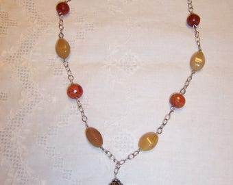TWICE A YEAR, 25% Off Fire Agate and yellow-brown quartz necklace. sterling silver chain.