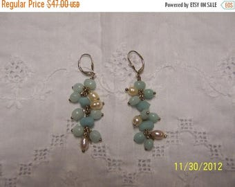 TWICE A YEAR, 25% Off Vintage Amazonite and Pearls Earrings. Sterling Silver.