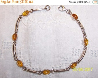 TWICE A YEAR, 25% Off Vintage Baltic Honey amber bracelet. Sterling silver.
