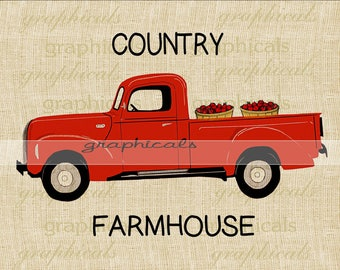 Red truck Farmhouse Apple basket printable graphic instant digital download for iron on transfer to burlap tote pillow Decoupage Card 3340