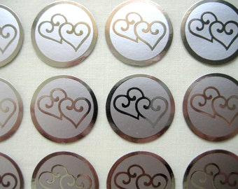 Silver Double Heart Stickers for Wedding Announcements Seal Stickers, Anniversary Envelopes Seals, Love Events, 1 inch, 60 or 100 Stickers