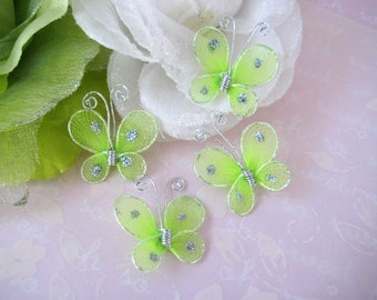 Green Nylon Butterfly Embellishments for Wedding Favors, Invitation Card Making, Flower Arrangement, 1 Inch / 25 mm, 24 or 50 pieces