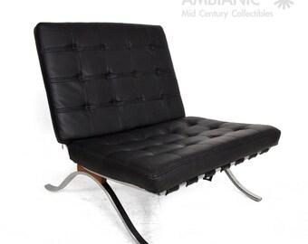 Mid-Century Modern Selig Barcelona Chair Chrome and Naugahyde