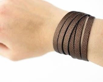 Leather Bracelet / Skinny Sliced Wrap Cuff / Espresso Shimmer