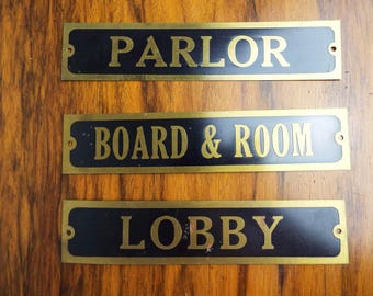 3 Vintage Brass Black Small Signs Metal Wall Plaques Parlor Lobby Board Room