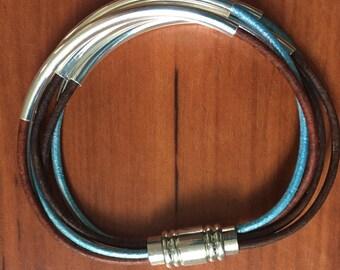 Multi Strand Leather Magnetic Bracelet