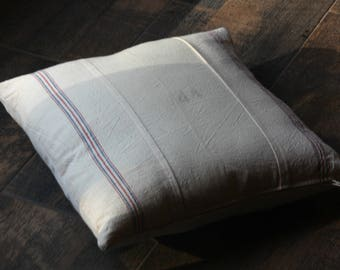 Pillow Cover, Throw Pillow, Striped Muslin, Vintage Feed Sack, Home Decor, Accent Pillow