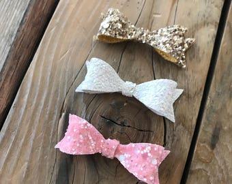 Pink Gold and White Glitter Newborn Bows Preemie Headbands Newborn Photo Prop Preemie Bows Baby Girl Headbands Baby Shower Gift