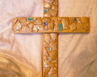 Mosaic Cross, Mosaic Wood Cross, Mosaics, Cross,  Christian Home Decor, Home Decor, Wood Cross, Religious Decor, Rose Gold Mosaic Cross