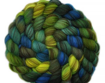 Hand painted roving - Shetland Humbug wool spinning fiber - 3.9 ounces - Well-Wishers 2