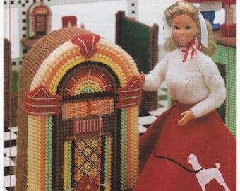 Plastic Canvas Pattern, Plastic Canvas Fashion Doll Furniture Pattern Soda Shop, Vintage Pattern