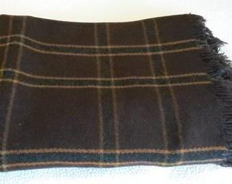 """Vintage Large Blanket 100% Wool Weaving Dark Brown w/Plaid Design 59""""x 38"""" Fringe"""