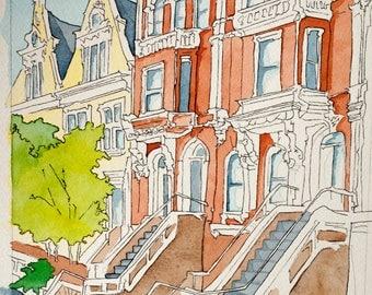 Original Watercolor Painting Philadelphia Row Home 11x15inches, Philly Art, Watercolor painting, Urban Sketch, Architecture, Wall Art