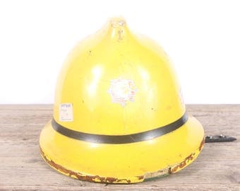 Vintage English Fireman's Helmet / England Cromwell Fire Pro Helmet / Yellow Service Helmet / Antique Fireman's Helmet / Fire Department
