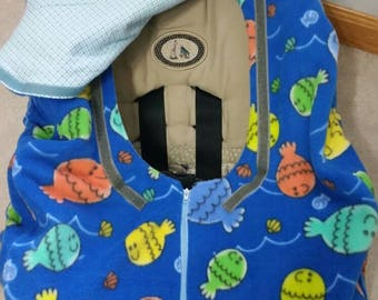 Baby Infant Car Seat Cover Blue with Fish Fleece and Blue Stripe Flannel