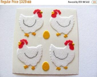 SALE Vintage Sandylion Fuzzy Chicken Sticker Mod - 80's Bird Scrapbook Hen Egg Chick