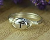Letter T Monogram Initial Wrapped Ring- Sterling Silver, Yellow or Rose Gold Filled Wire Pewter Bead -Size 4 5 6 7 8 9 10 11 12 13 14