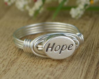 Hope Ring- Sterling Silver Yellow OR Rose Gold Filled Wire Wrapped Ring with Oval Sterling Silver Bead - Any Size 4 5 6 7 8 9 10 11 12 13 14