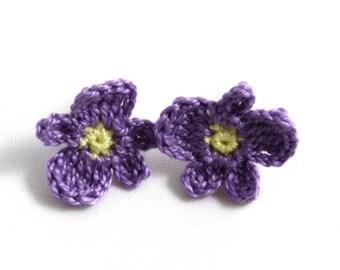 Earrings - Vegan Earrings - Vegan Jewelry - Earrings Studs - Crochet Earrings - Flower Earrings - Stainless Steel Earrings - Purple Earrings