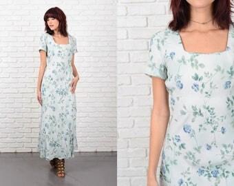 Vintage 90s Blue Grunge Dress Leaf Print Short Sleeve Maxi Small S 10544