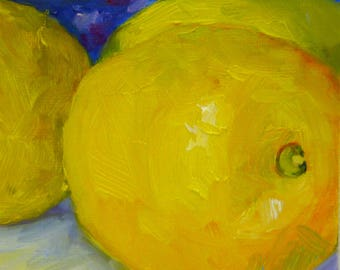 Small Original Still Life Oil Painting Sunny Lemons