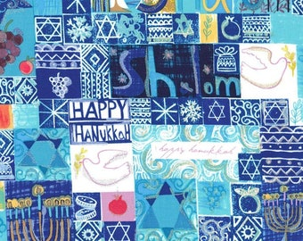 """End of Bolt - 14"""" X 44"""" - Shalom HANUKKAH fabric from Michael Miller"""