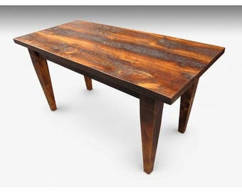 """4 Foot (48"""") Custom Pine Rustic Farm Table with Tapered Legs"""