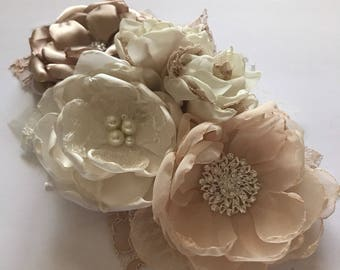 Bridal Sash Pin - Five Flower Cluster - Shades of Ivory and Champagne, Vintage Style, Fabric Flowers, Flower Pin, Maternity Sash Pin