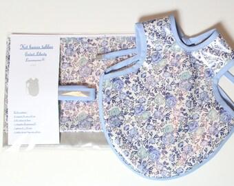 Kit bib apron Liberty coated - silver - Girl 6-18 months