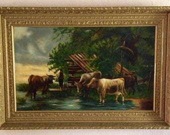 Antique Oil Painting Etsy