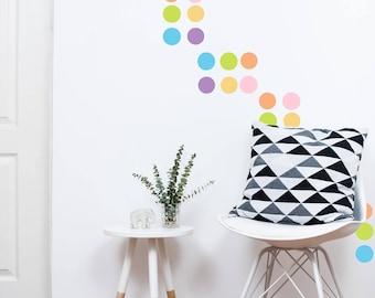 "Polka Dots Wall Decal // Pastel Polka Dots // Nursery Wall Decor // Polka Dot Stickers // Peel and Stick Dots // 220 - 2"" Dots Per Pack"