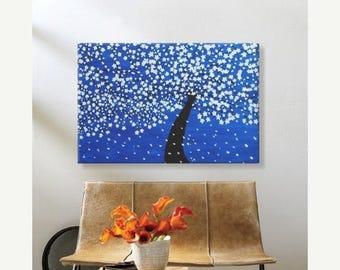 50% off SALE Clearance Sale: White Blossom Tree. Original Handpainted Acrylic Thick 3d Texture Impasto Palette Knife Painting. Size 24 x 36.