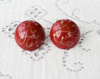 Red Splatter Domed Button Earrings