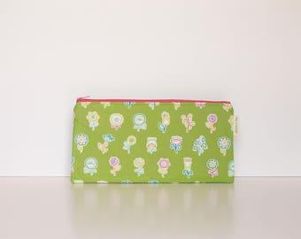 fun green flower pencil case