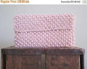 60s Clutch / Pink Clutch / Japan Bag / Mad Men / Beaded Bag / Spring / Garden Party / Raffia Clutch / Preppy / Retro / Wedding / Summer