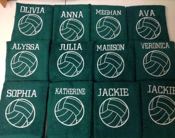Volleyball, Personalized, volleyball towel, Custom Embroidery, volleyball gift, sport towels, teen gift, girl gift, gift for her,