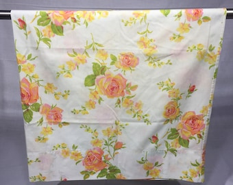 Vintage Floral rose pillowcase with yellow, pink, coral, red and orange flowers and green leaves, standard, bedding, retro pillowcase, flora