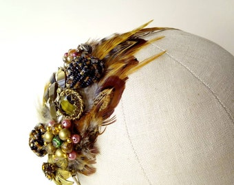 Hair band fascinator with pheasant feathers and vintage embellishments ~ brown, green, gold ~ Woodland Yurt Marquee Garden Wedding ~ Bridal