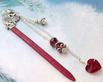 Ruby Red  Phoenix Bookmark, heart bookmark, red bookmark, red heart, sparkle, glitter, silver, swarovski crystal, pearls, ruby heart, bird