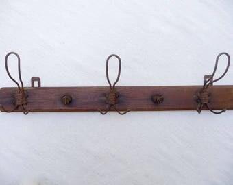 Antique Coat Rack, French Wall Rack, 5 Iron Hooks, Wood Wall Rack, Hat Rack, French Wall Rack, French Farmhouse Decor