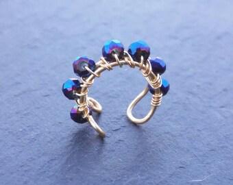 No Piercing Earring - No Piercing Ear Cuff - Fake Piercing Jewelry - Faux Conch Ring - Hoop Ear Cuff - Fake Conch Ring - Gold Ear Cuff